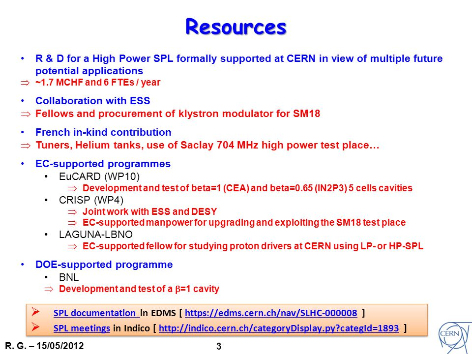 R. G. – 15/05/2012 3 R & D for a High Power SPL formally supported at CERN in view of multiple future potential applications  ~1.7 MCHF and 6 FTEs /