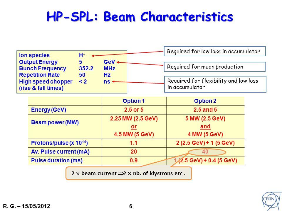 R. G. – 15/05/2012 6 Option 1Option 2 Energy (GeV)2.5 or 52.5 and 5 Beam power (MW) 2.25 MW (2.5 GeV) or 4.5 MW (5 GeV) 5 MW (2.5 GeV) and 4 MW (5 GeV