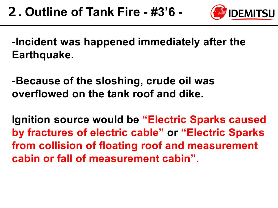 2. Outline of Tank Fire - #3'6 - -Incident was happened immediately after the Earthquake. -Because of the sloshing, crude oil was overflowed on the ta