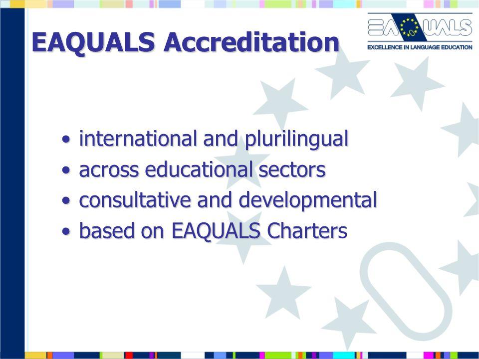 EAQUALS Accreditation international and plurilingualinternational and plurilingual across educational sectorsacross educational sectors consultative and developmentalconsultative and developmental based on EAQUALS Charterbased on EAQUALS Charters