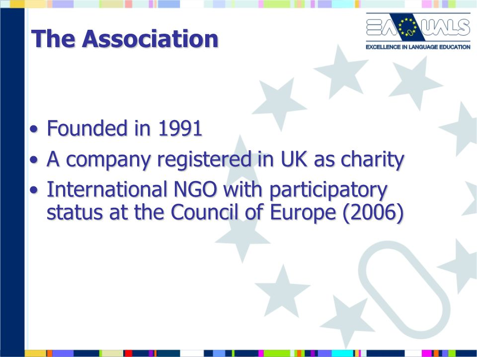 The Association Founded in 1991Founded in 1991 A company registered in UK as charityA company registered in UK as charity International NGO with participatory status at the Council of Europe (2006)International NGO with participatory status at the Council of Europe (2006)