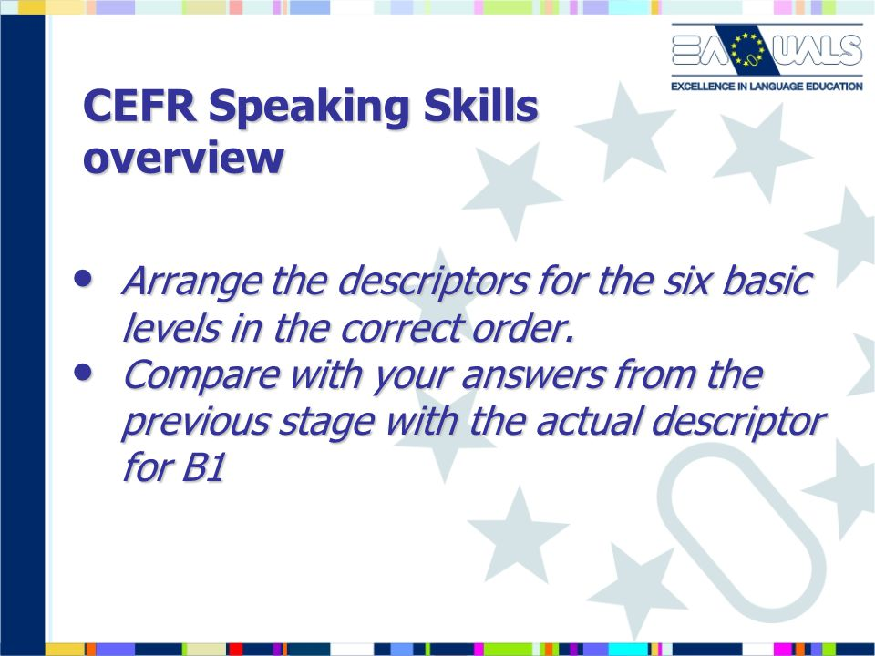 CEFR Speaking Skills overview Arrange the descriptors for the six basic levels in the correct order.