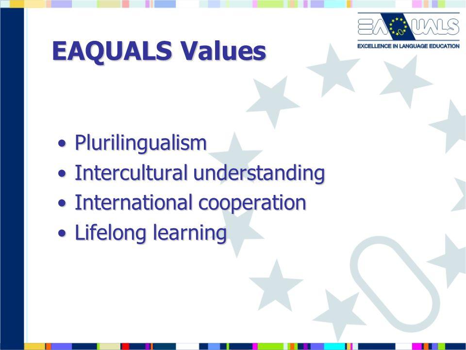 EAQUALS Values PlurilingualismPlurilingualism Intercultural understandingIntercultural understanding International cooperationInternational cooperation Lifelong learningLifelong learning