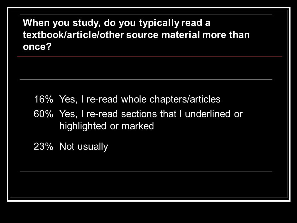 When you study, do you typically read a textbook/article/other source material more than once.