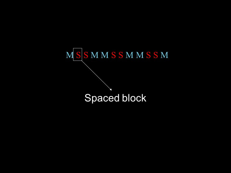 Spaced block M S S M M S S M M S S M