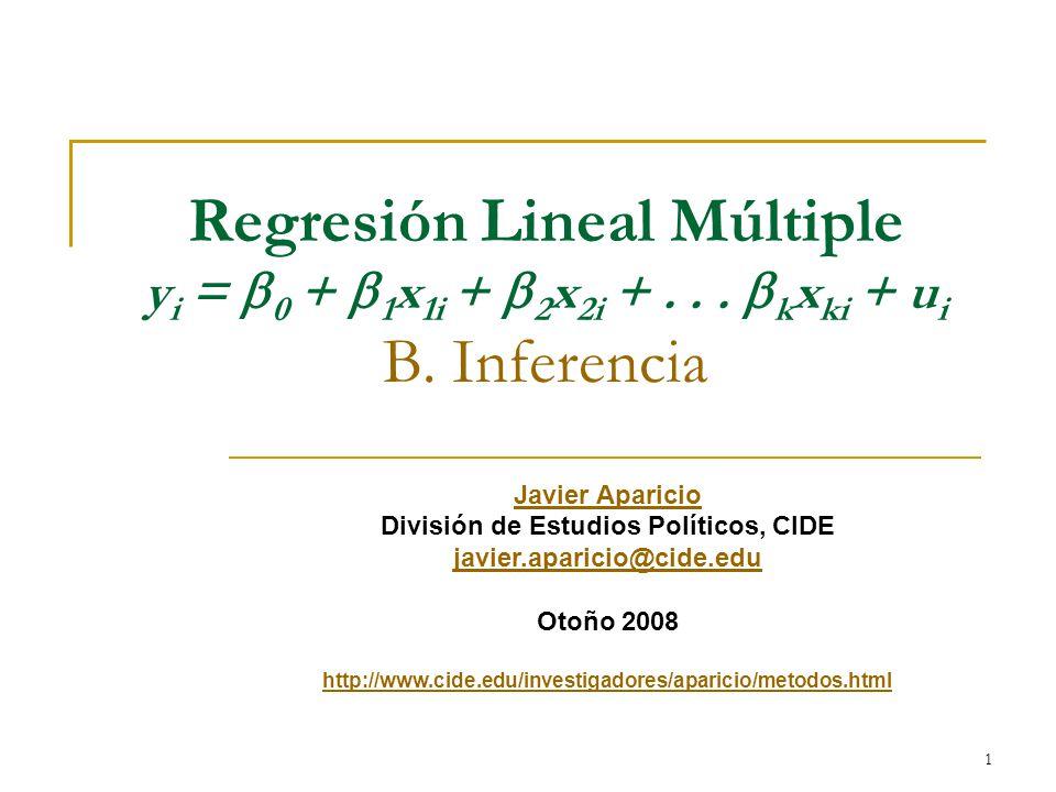 1 Javier Aparicio División de Estudios Políticos, CIDE javier.aparicio@cide.edu Otoño 2008 http://www.cide.edu/investigadores/aparicio/metodos.html Regresión Lineal Múltiple y i =  0 +  1 x 1i +  2 x 2i +...