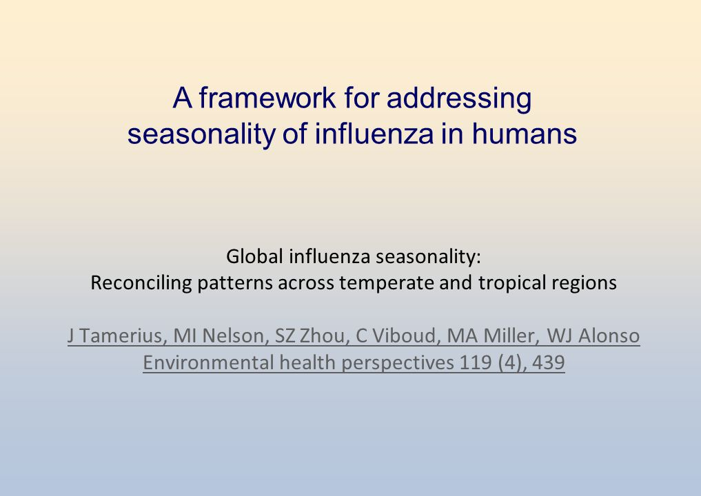 Global influenza seasonality: Reconciling patterns across temperate and tropical regions J Tamerius, MI Nelson, SZ Zhou, C Viboud, MA Miller, WJ Alonso Environmental health perspectives 119 (4), 439 J Tamerius, MI Nelson, SZ Zhou, C Viboud, MA Miller, WJ Alonso Environmental health perspectives 119 (4), 439 A framework for addressing seasonality of influenza in humans