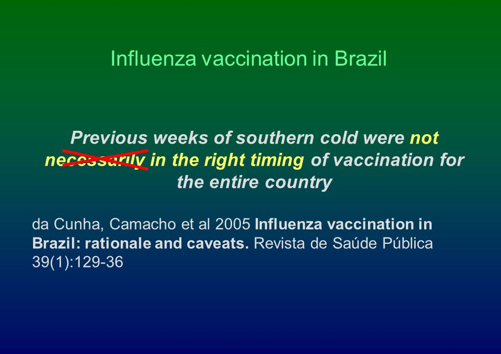 Influenza vaccination in Brazil Previous weeks of southern cold were not necessarily in the right timing of vaccination for the entire country da Cunh