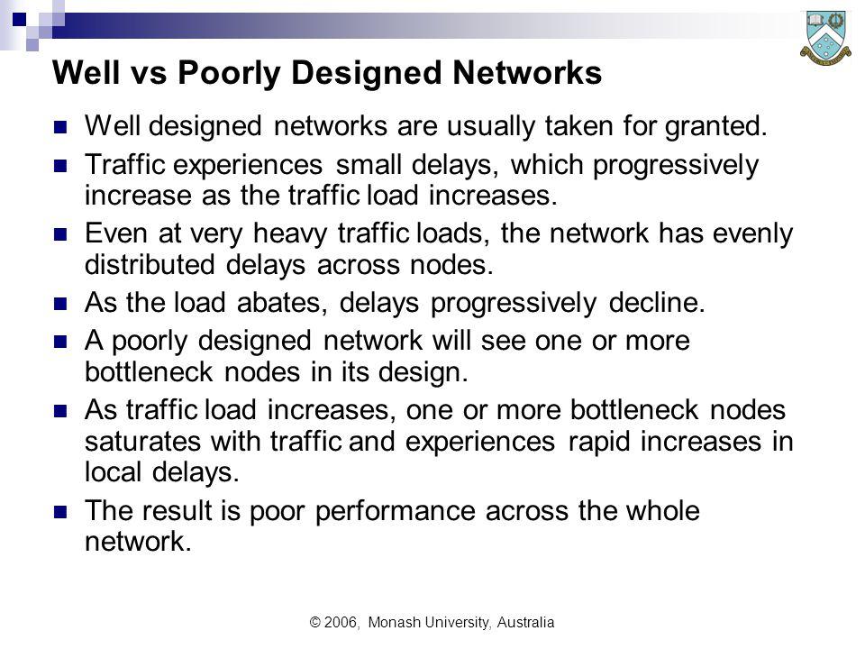 © 2006, Monash University, Australia Well vs Poorly Designed Networks Well designed networks are usually taken for granted.