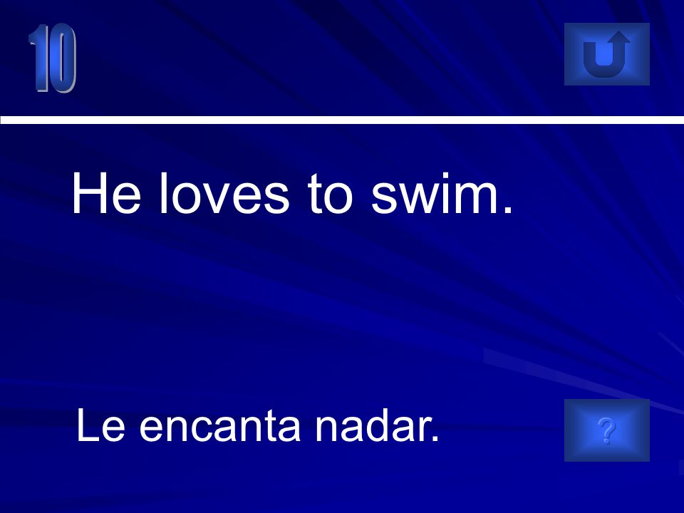 Le encanta nadar. He loves to swim.