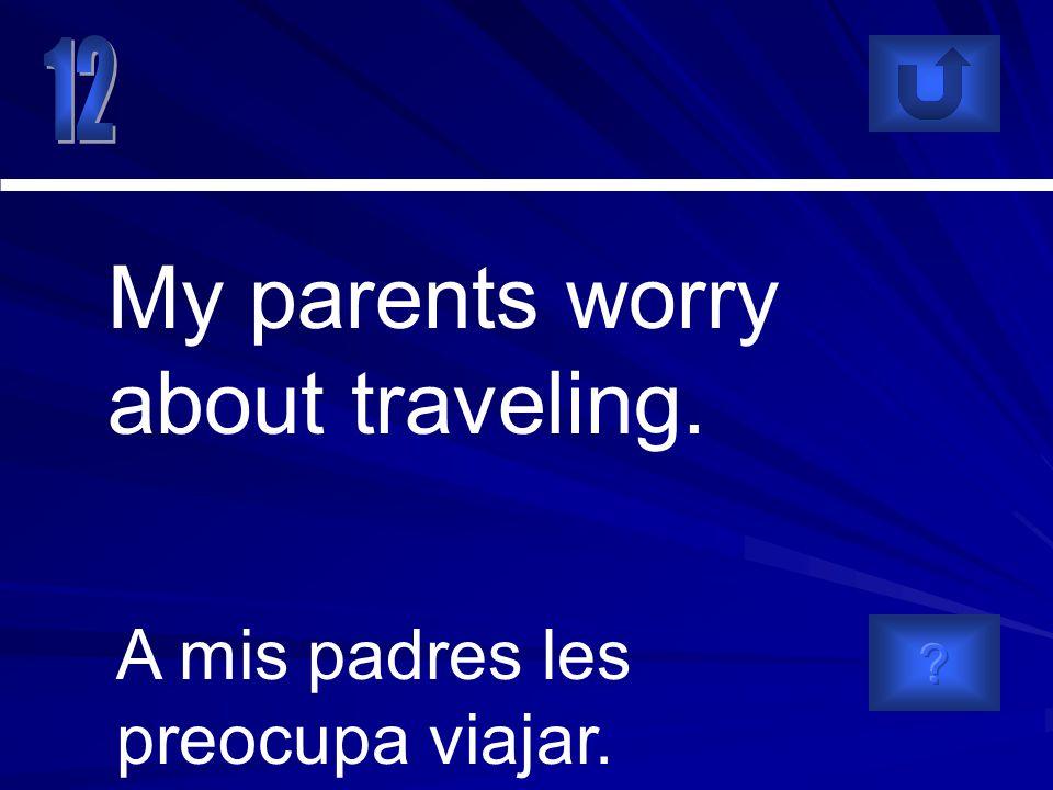 A mis padres les preocupa viajar. My parents worry about traveling.