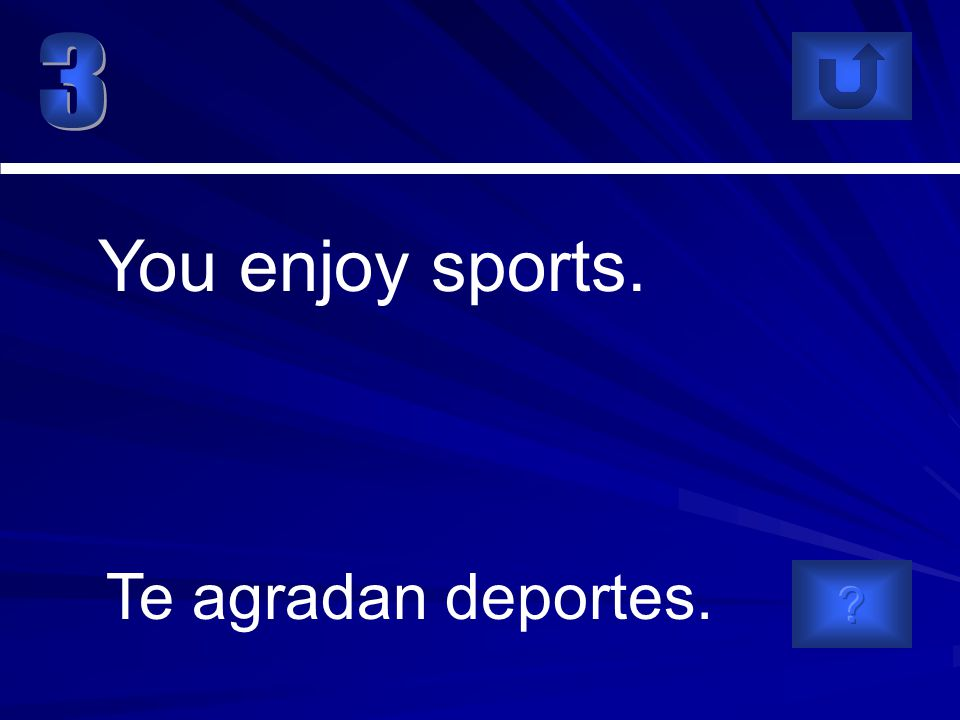 Te agradan deportes. You enjoy sports.