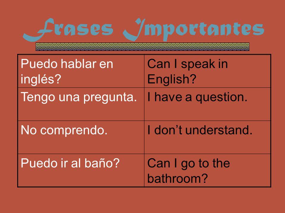 Frases Importantes Puedo hablar en inglés. Can I speak in English.