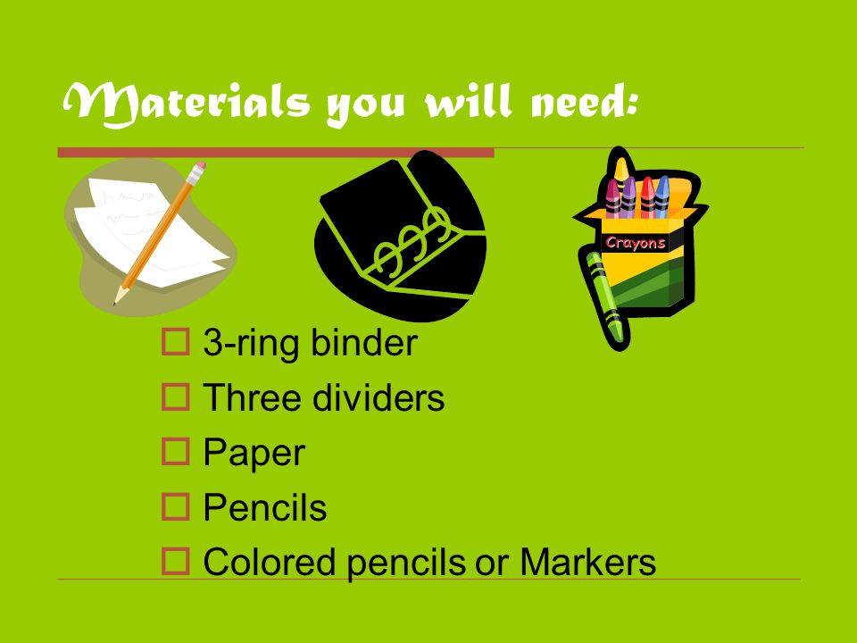 Materials you will need:  3-ring binder  Three dividers  Paper  Pencils  Colored pencils or Markers