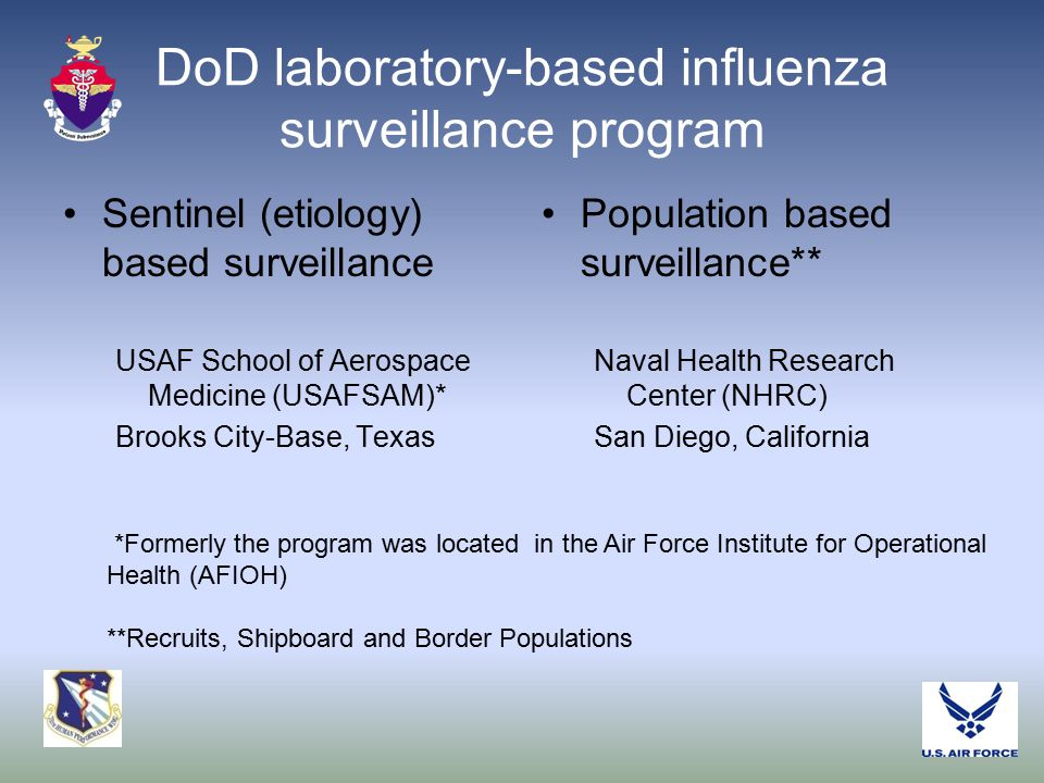 DoD laboratory-based influenza surveillance program Sentinel (etiology) based surveillance USAF School of Aerospace Medicine (USAFSAM)* Brooks City-Base, Texas Population based surveillance** Naval Health Research Center (NHRC) San Diego, California *Formerly the program was located in the Air Force Institute for Operational Health (AFIOH) **Recruits, Shipboard and Border Populations