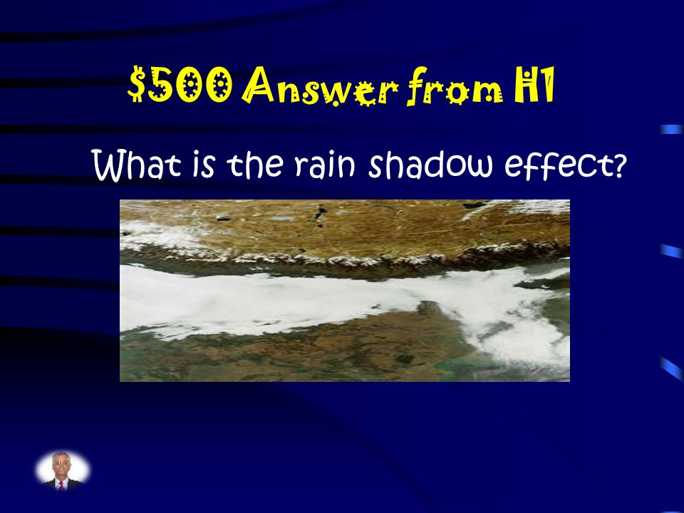 $500 Question from H1 When a desert is located near a mountain, air moves up over the mountain range and it gets cold and loses the ability to hold moisture, and it rains or snows.