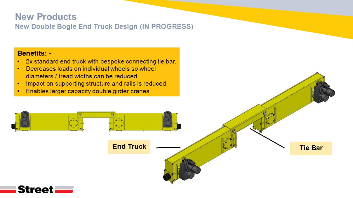 New Products New Double Bogie End Truck Design (IN PROGRESS) Benefits: - 2x standard end truck with bespoke connecting tie bar. Decreases loads on ind