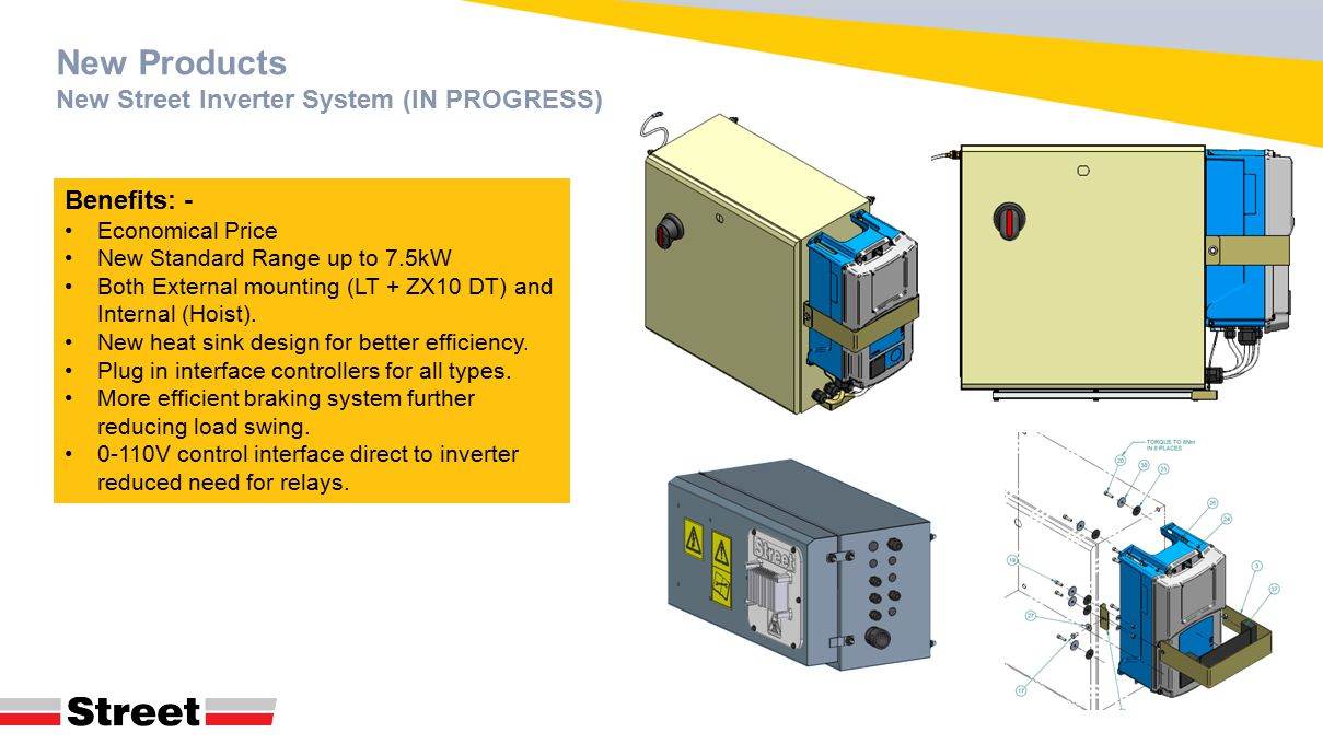 New Products New Street Inverter System (IN PROGRESS) Benefits: - Economical Price New Standard Range up to 7.5kW Both External mounting (LT + ZX10 DT