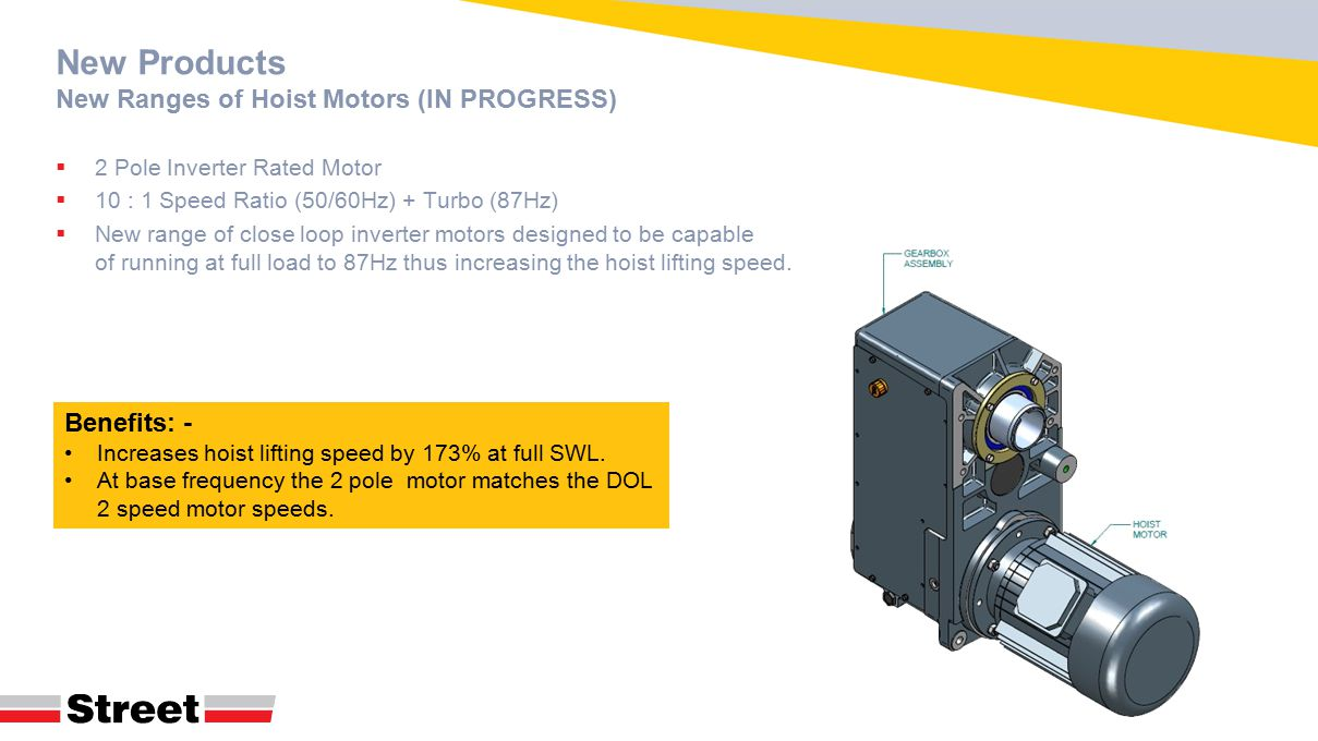 New Products New Ranges of Hoist Motors (IN PROGRESS)  2 Pole Inverter Rated Motor  10 : 1 Speed Ratio (50/60Hz) + Turbo (87Hz)  New range of close