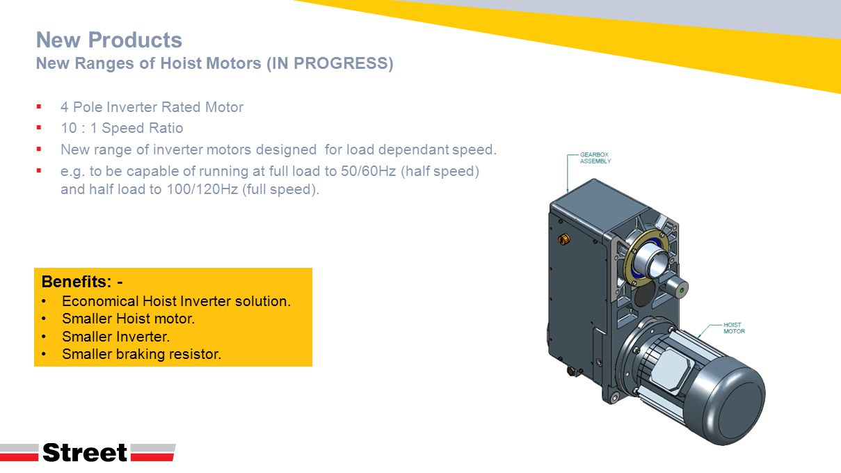 New Products New Ranges of Hoist Motors (IN PROGRESS)  4 Pole Inverter Rated Motor  10 : 1 Speed Ratio  New range of inverter motors designed for load dependant speed.
