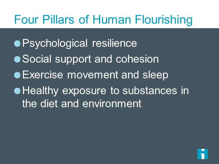 Four Pillars of Human Flourishing Psychological resilience Social support and cohesion Exercise movement and sleep Healthy exposure to substances in the diet and environment