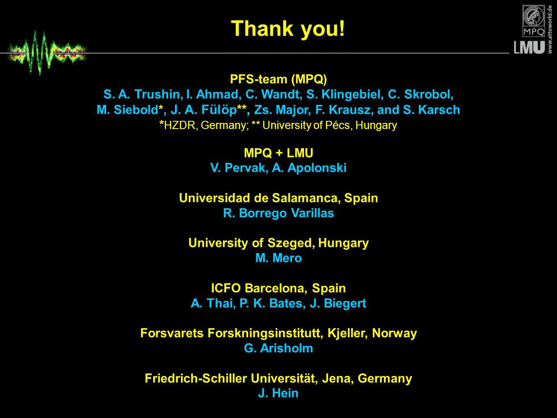Thank you! PFS-team (MPQ) S. A. Trushin, I. Ahmad, C. Wandt, S. Klingebiel, C. Skrobol, M. Siebold*, J. A. Fülöp**, Zs. Major, F. Krausz, and S. Karsc