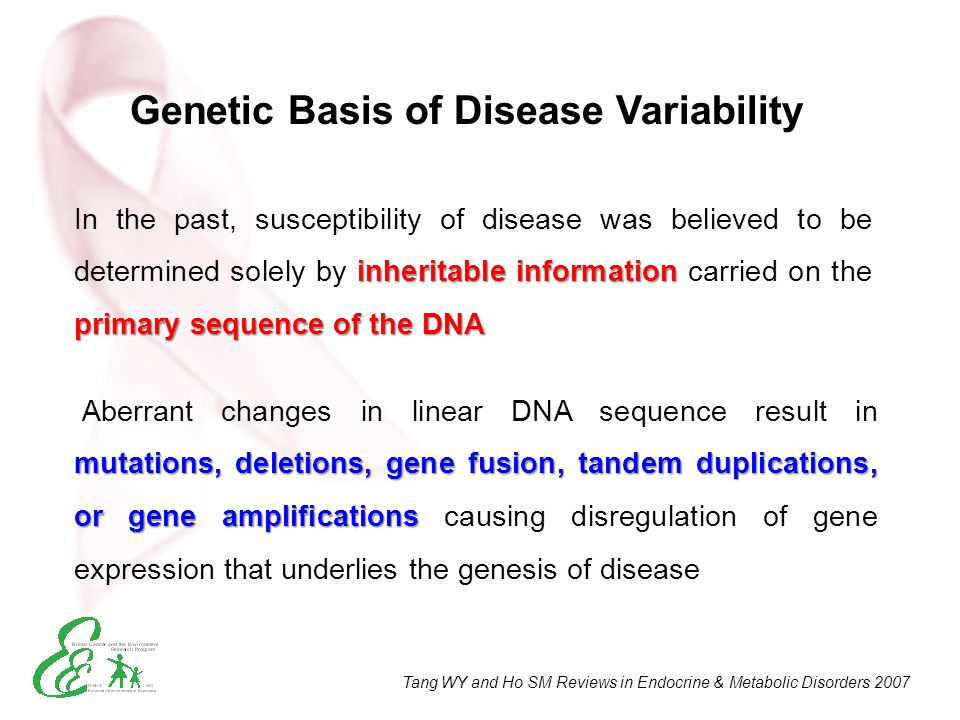 inheritable information primary sequence of the DNA In the past, susceptibility of disease was believed to be determined solely by inheritable informa