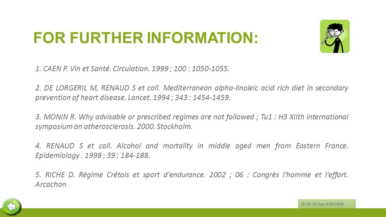 FOR FURTHER INFORMATION: 1. CAEN P. Vin et Santé.