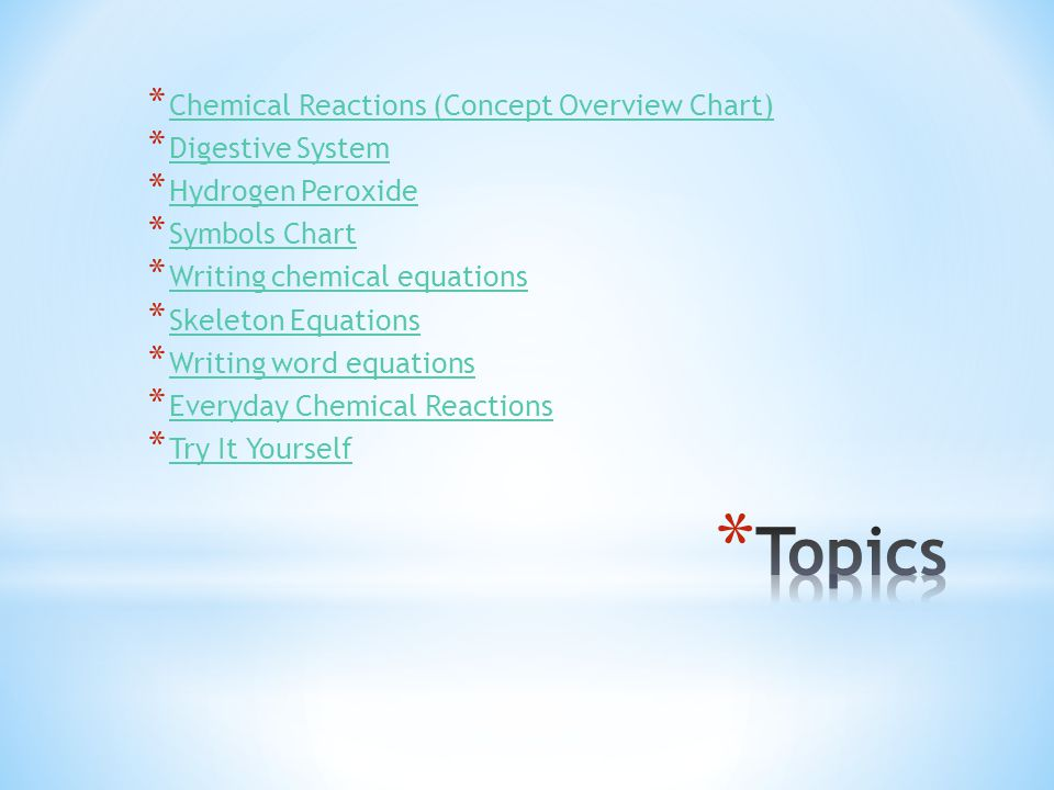 * Chemical Reactions (Concept Overview Chart) Chemical Reactions (Concept Overview Chart) * Digestive System Digestive System * Hydrogen Peroxide Hydr