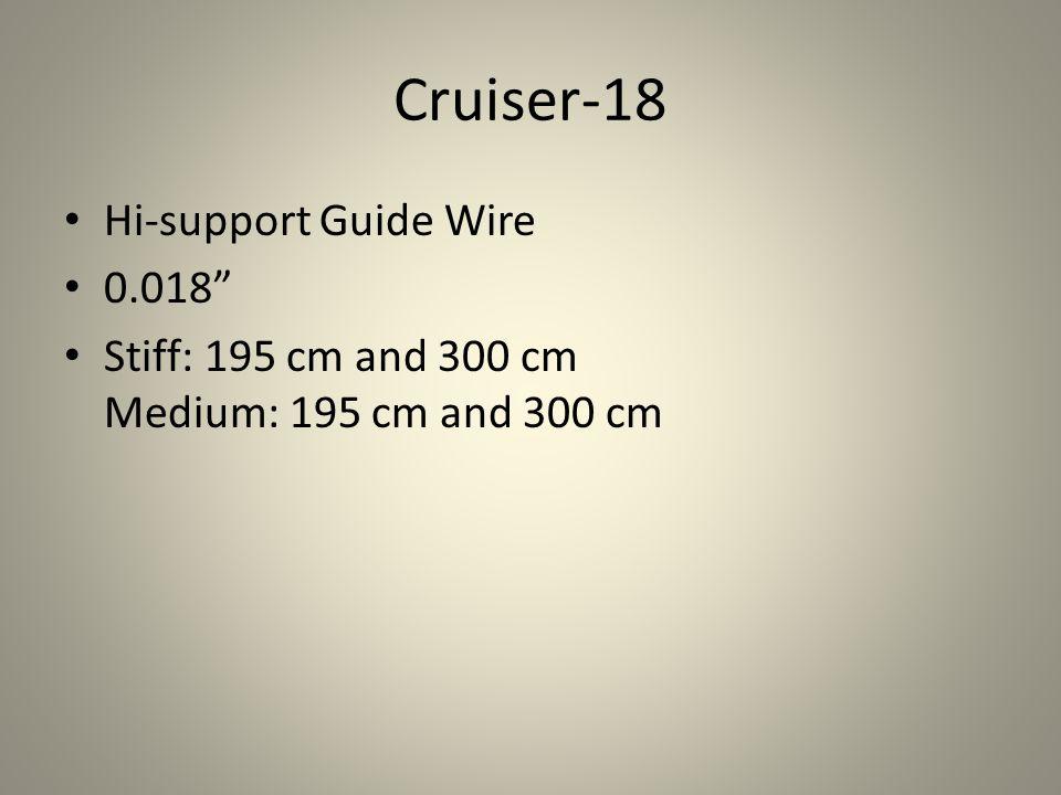 """Cruiser-18 Hi-support Guide Wire 0.018"""" Stiff: 195 cm and 300 cm Medium: 195 cm and 300 cm"""