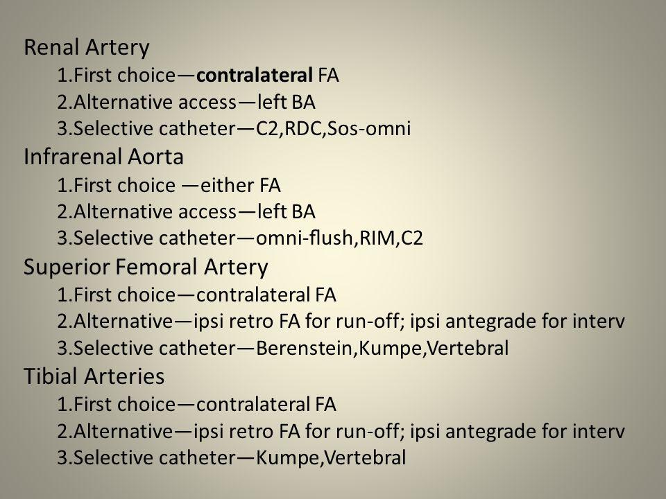 Renal Artery 1.First choice—contralateral FA 2.Alternative access—left BA 3.Selective catheter—C2,RDC,Sos-omni Infrarenal Aorta 1.First choice —either