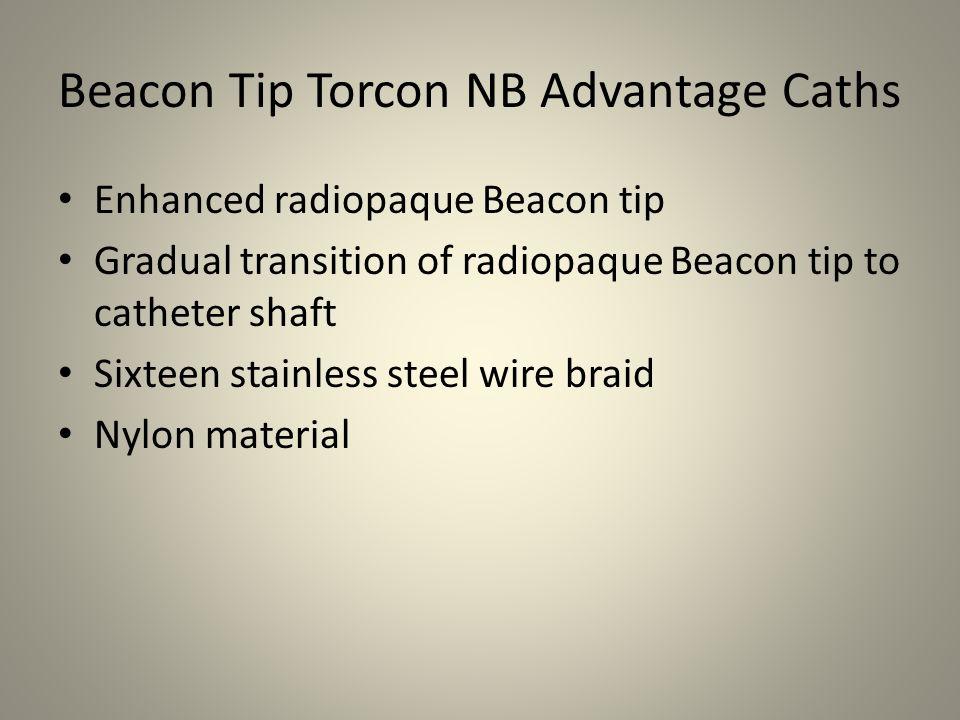 Beacon Tip Torcon NB Advantage Caths Enhanced radiopaque Beacon tip Gradual transition of radiopaque Beacon tip to catheter shaft Sixteen stainless st