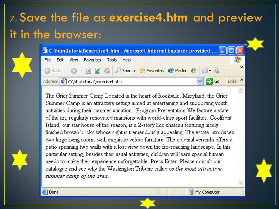 7. Save the file as exercise4.htm and preview it in the browser: