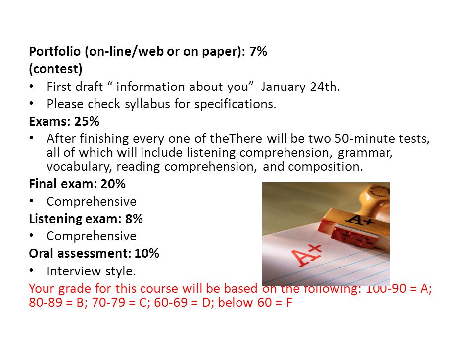 Portfolio (on-line/web or on paper): 7% (contest) First draft information about you January 24th.