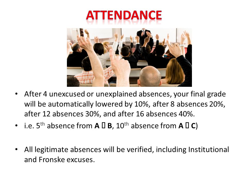 After 4 unexcused or unexplained absences, your final grade will be automatically lowered by 10%, after 8 absences 20%, after 12 absences 30%, and after 16 absences 40%.