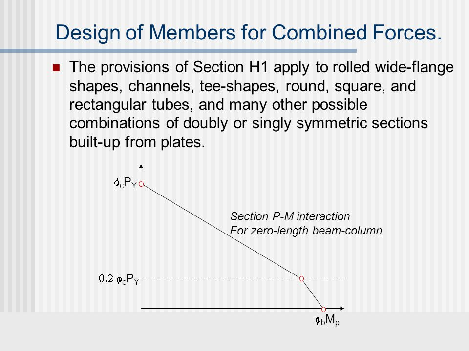 P-M interaction curve according to Section H1.1 cPncPn bMnbMn P-M interaction for full length  c P n Column axial load capacity accounting for x and y axis buckling Beam moment capacity accounting for in-plane behavior and lateral-torsional buckling P-M interaction for zero length bMpbMp cPYcPY