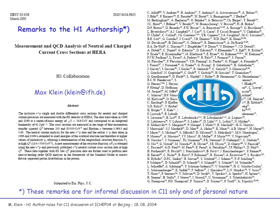 M. Klein - H1 Author rules for C11 discussion at ICHEP04 at Beijing - 18.