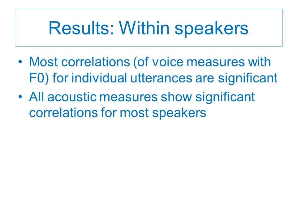 Results: Within speakers Most correlations (of voice measures with F0) for individual utterances are significant All acoustic measures show significant correlations for most speakers