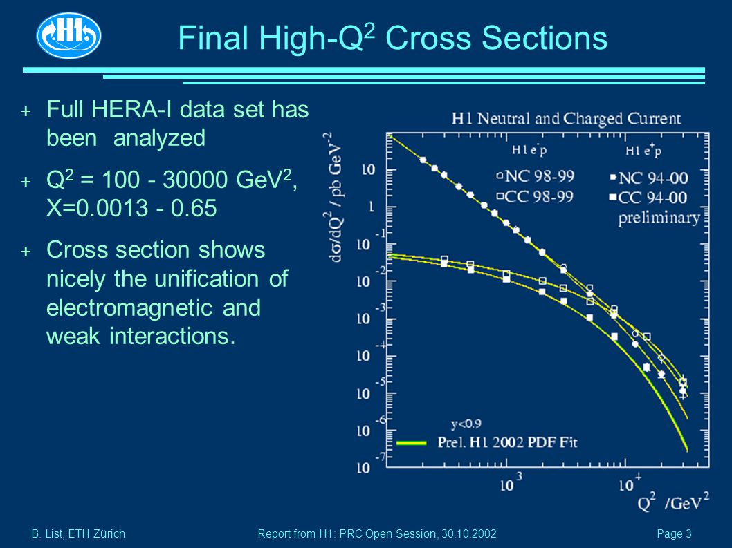 B. List, ETH Zürich Page 3 Report from H1: PRC Open Session, 30.10.2002 Final High-Q 2 Cross Sections + Full HERA-I data set has been analyzed + Q 2 =