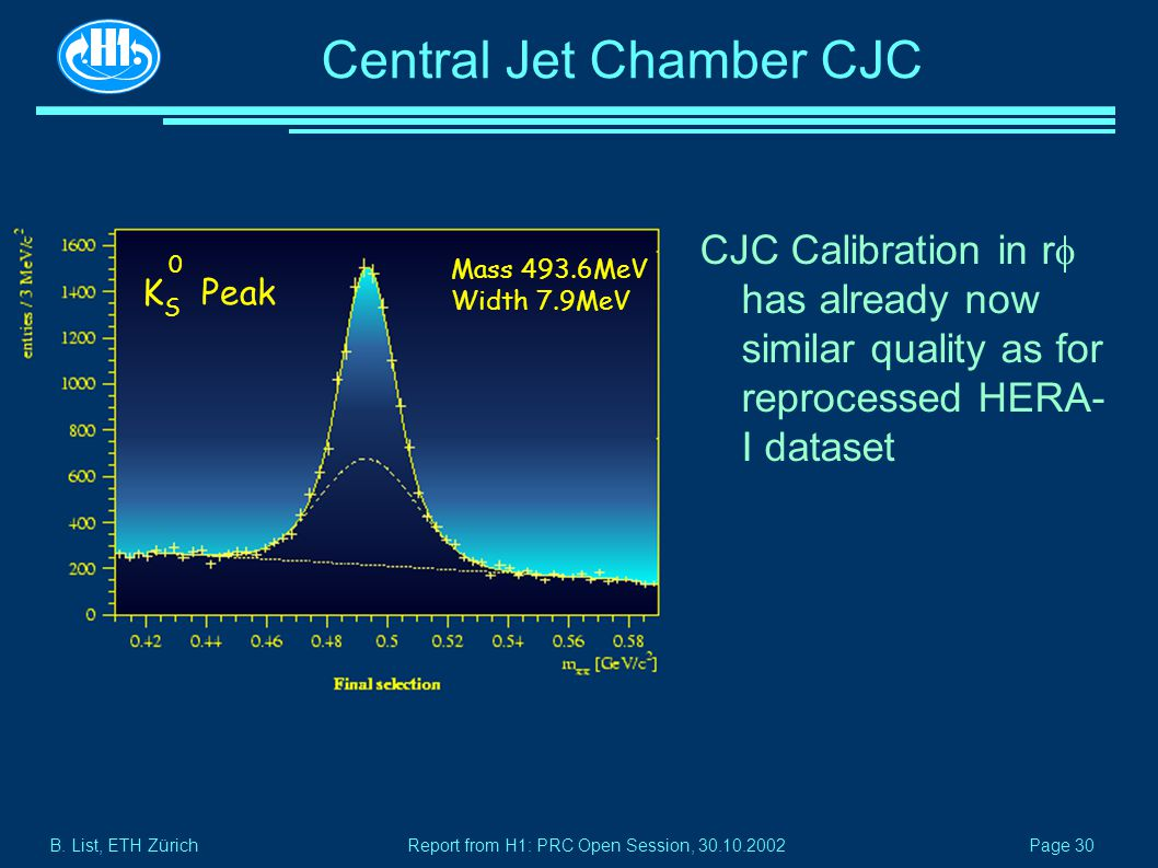 B. List, ETH Zürich Page 30 Report from H1: PRC Open Session, 30.10.2002 Central Jet Chamber CJC CJC Calibration in r  has already now similar qualit