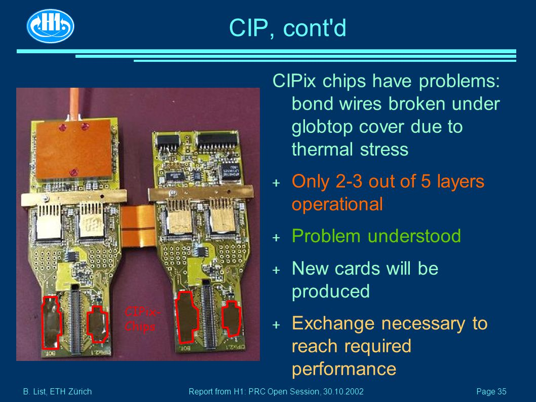 B. List, ETH Zürich Page 35 Report from H1: PRC Open Session, 30.10.2002 CIP, cont'd CIPix chips have problems: bond wires broken under globtop cover