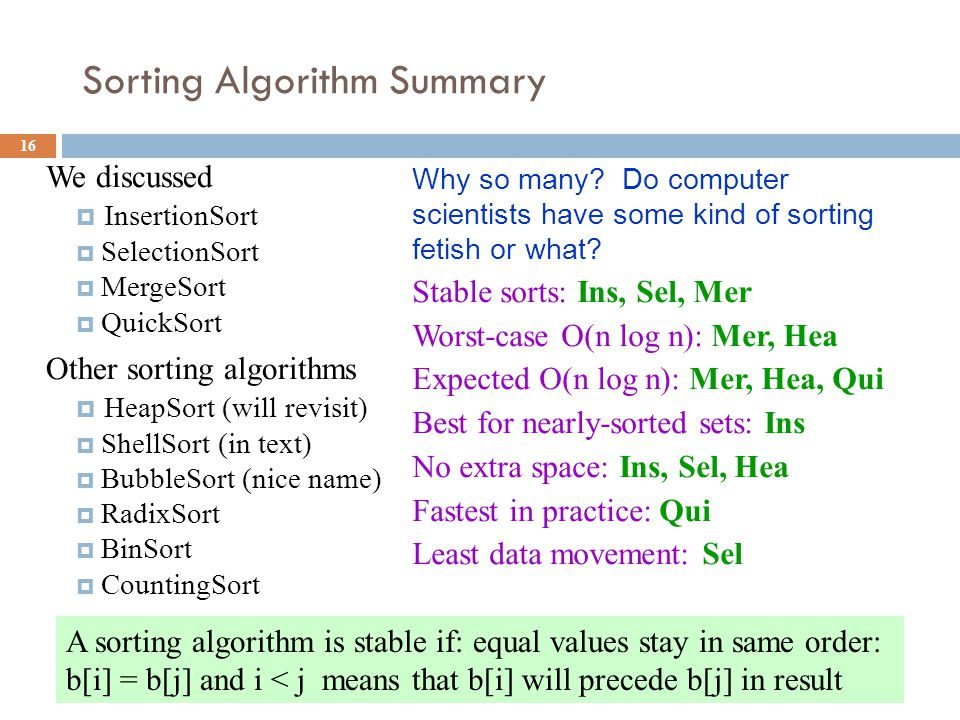 Sorting Algorithm Summary 16 We discussed  InsertionSort  SelectionSort  MergeSort  QuickSort Other sorting algorithms  HeapSort (will revisit)  ShellSort (in text)  BubbleSort (nice name)  RadixSort  BinSort  CountingSort Why so many.