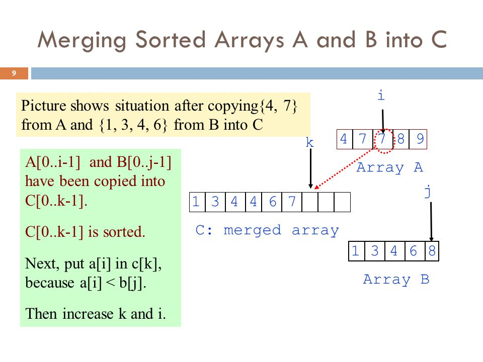 Merging Sorted Arrays A and B into C 9 C: merged array Array B Array A k i j 1 3 4 4 6 74 7 7 8 9 1 3 4 6 8 A[0..i-1] and B[0..j-1] have been copied into C[0..k-1].