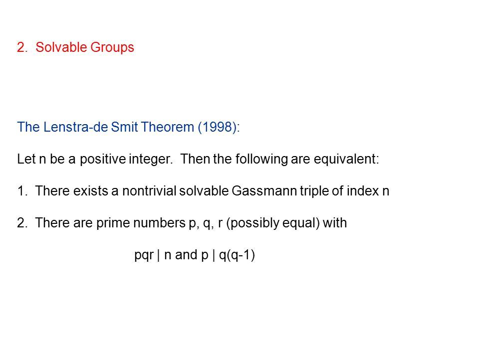 2. Solvable Groups The Lenstra-de Smit Theorem (1998): Let n be a positive integer.