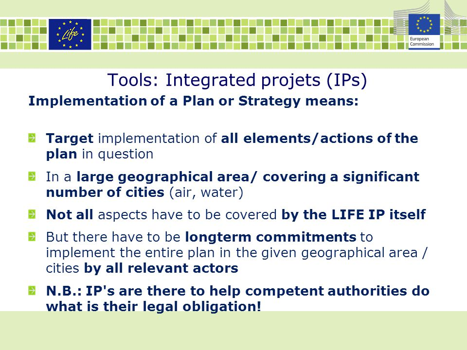 Tools: Integrated projets (IPs) Implementation of a Plan or Strategy means: Target implementation of all elements/actions of the plan in question In a