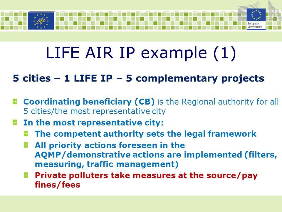 LIFE AIR IP example (1) 5 cities – 1 LIFE IP – 5 complementary projects Coordinating beneficiary (CB) is the Regional authority for all 5 cities/the m
