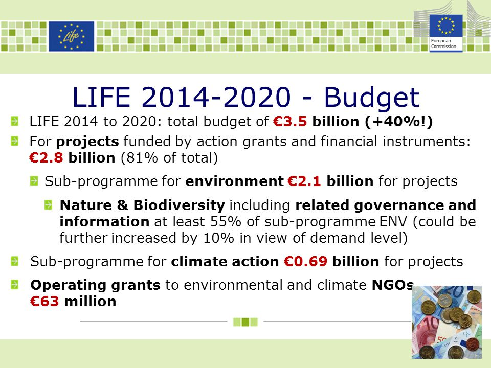 LIFE 2014-2020 - Budget LIFE 2014 to 2020: total budget of €3.5 billion (+40%!) For projects funded by action grants and financial instruments: €2.8 b