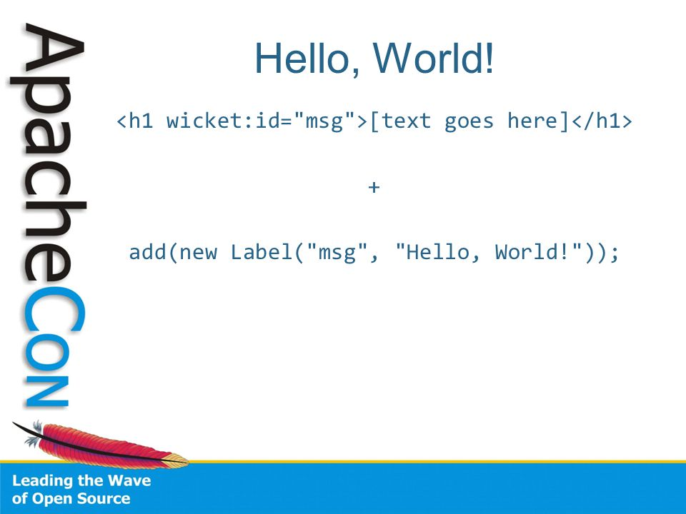 Hello, World! [text goes here] + add(new Label( msg , Hello, World! ));