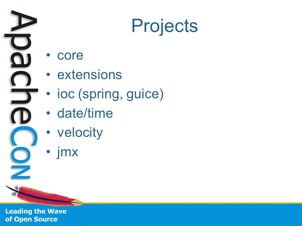 Projects core extensions ioc (spring, guice) date/time velocity jmx