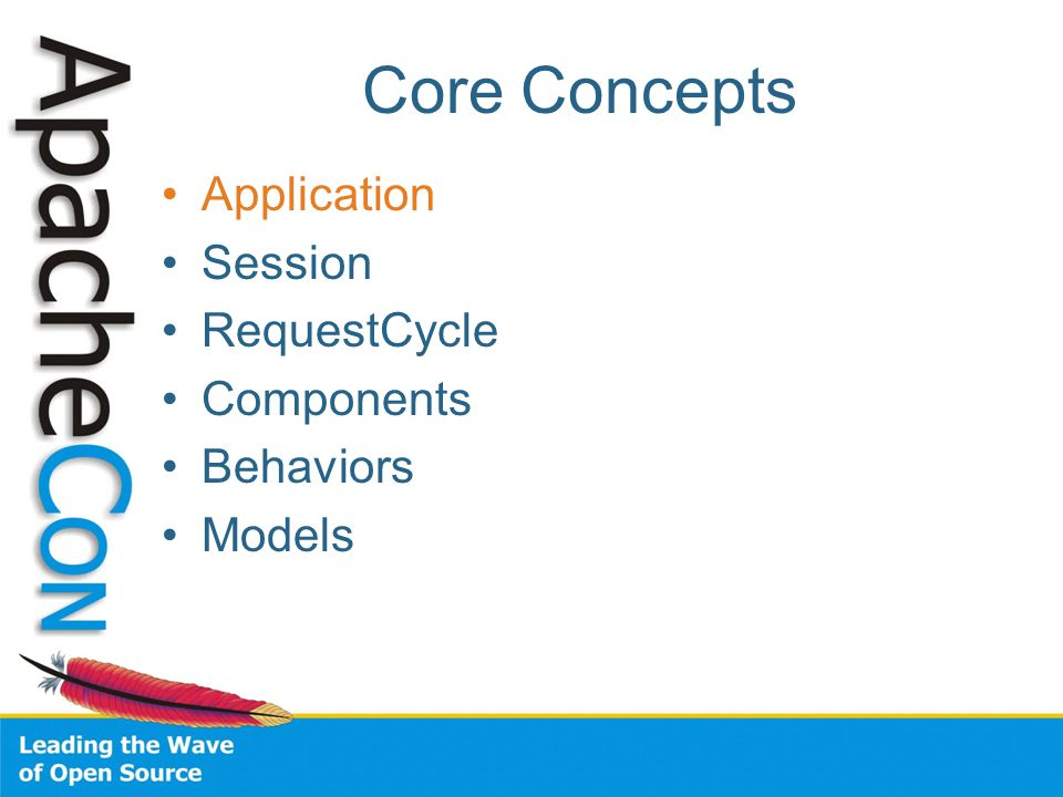 Core Concepts Application Session RequestCycle Components Behaviors Models